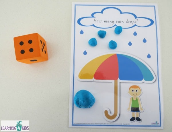 Printable counting play dough mats