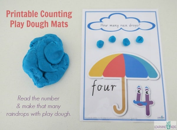 Printable counting play dough mats - read the number and make that many raindrops with play dough