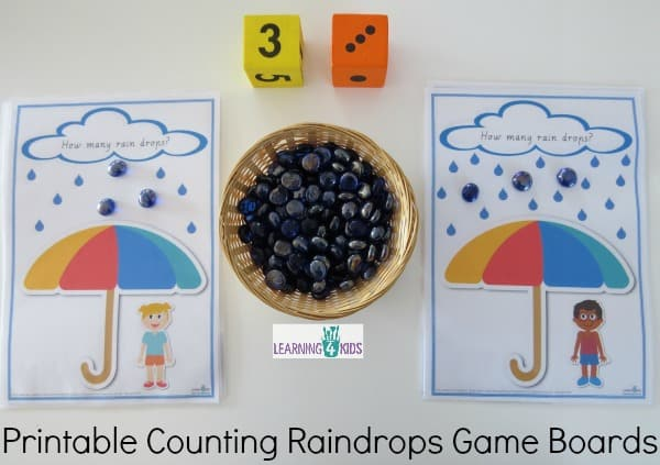 Printable counting raindrops game boards - great for subitising and can also be used as play dough mats