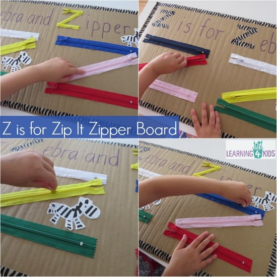 Z is for Zipper Board, homemade educational toy - letter z activity
