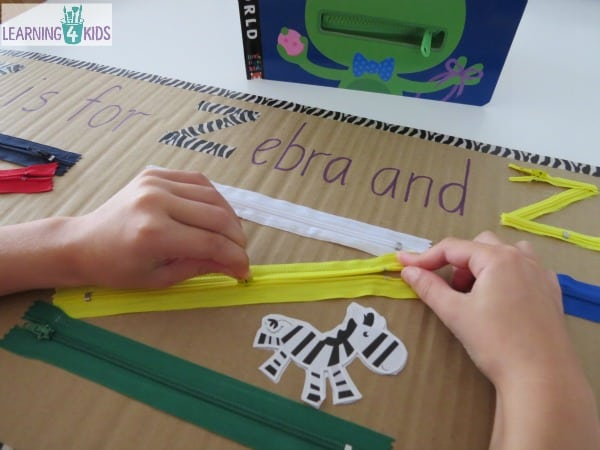 learning the ABC letter z activity - z is for zipper and zebra