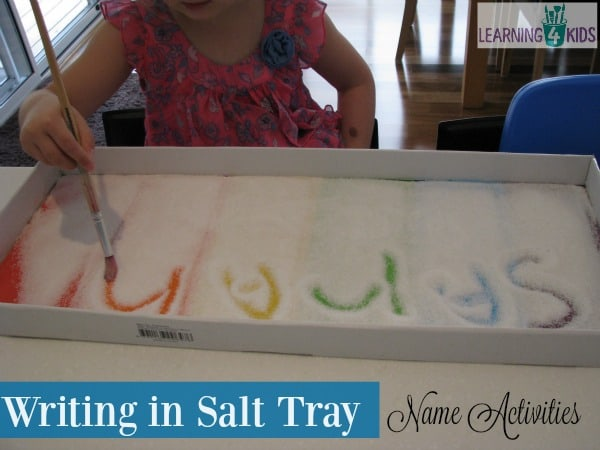 list of name activities - writing in a rainbow salt tray