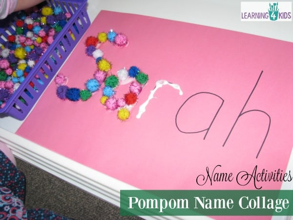 list of super fun and simple name activities - Pompom name collage