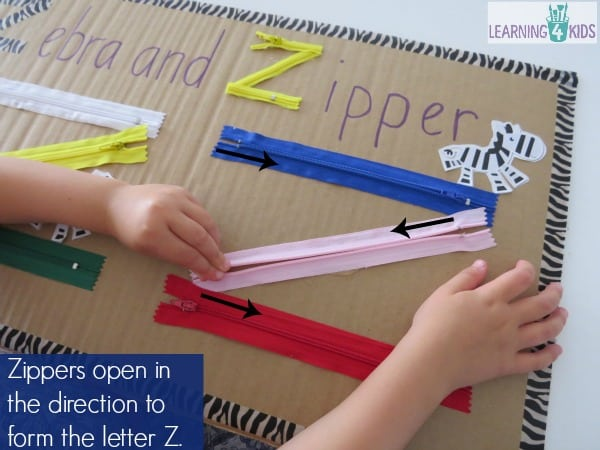 zippers open in the direction to form the letter z as though you were writing it