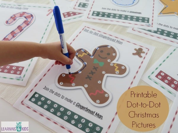 9 Pages - Printable Dot-to-Dot Christmas Pictures - Part of the ULTIMATE Christmas Printable Activities Pack by Learnin 4 Kids