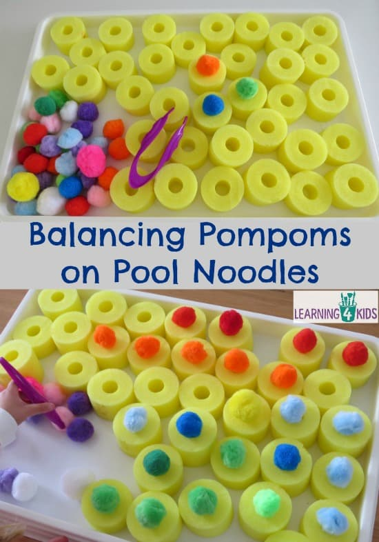 Balancing Pompoms on Pool Noodles - fine motor activities