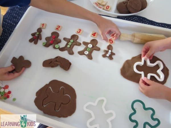 Book inspired activity 10 Gingerbread Men by Ruth Galloway - children re-create gingerbread play dough and count them.