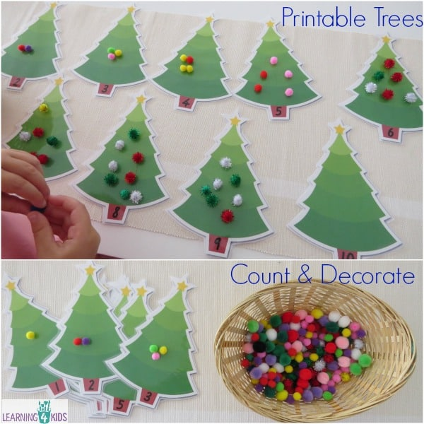 Christmas Counting Activity with Printable Trees - count and decorate the trees