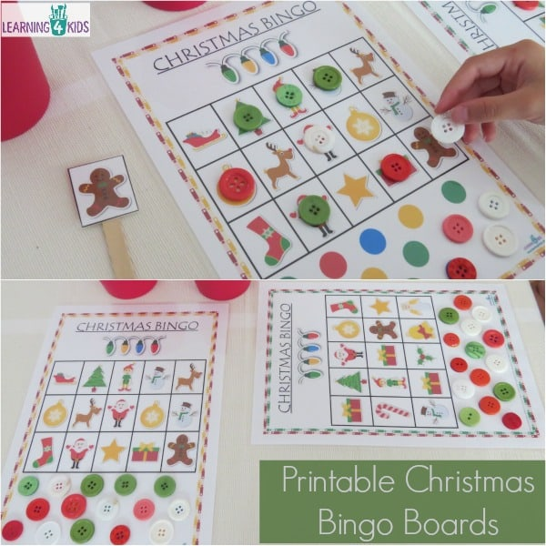 Christmas Games - Printable Bingo Boards (includes 6 boards) - part of the ULTIMATE Christmas Printable Activities Pack by Learning 4 Kids