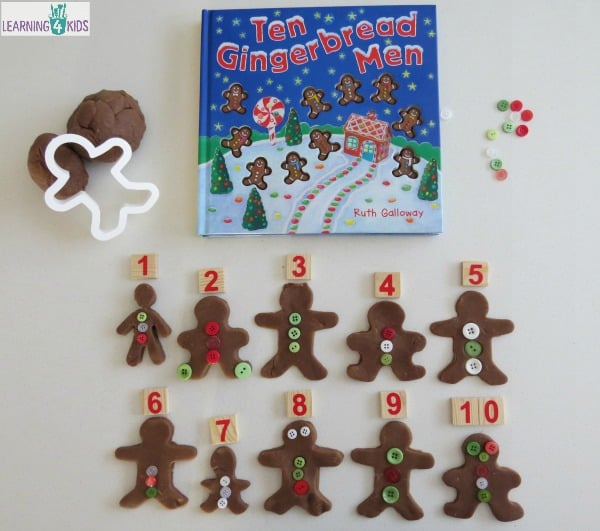 Christmas Play dough and Counting activity inspired by the story Ten Gingerbread Men by Ruth Galloway