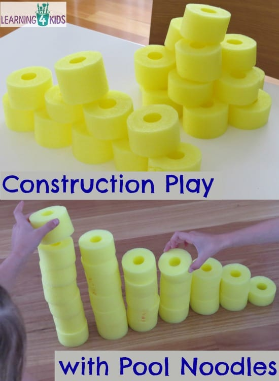 Construction play with Pool noodles - the ideas are endless!