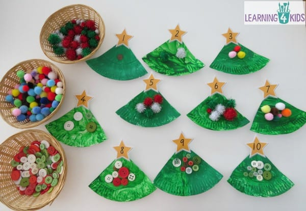 Counting Christmas Decorations on Paper Plate Christmas Trees