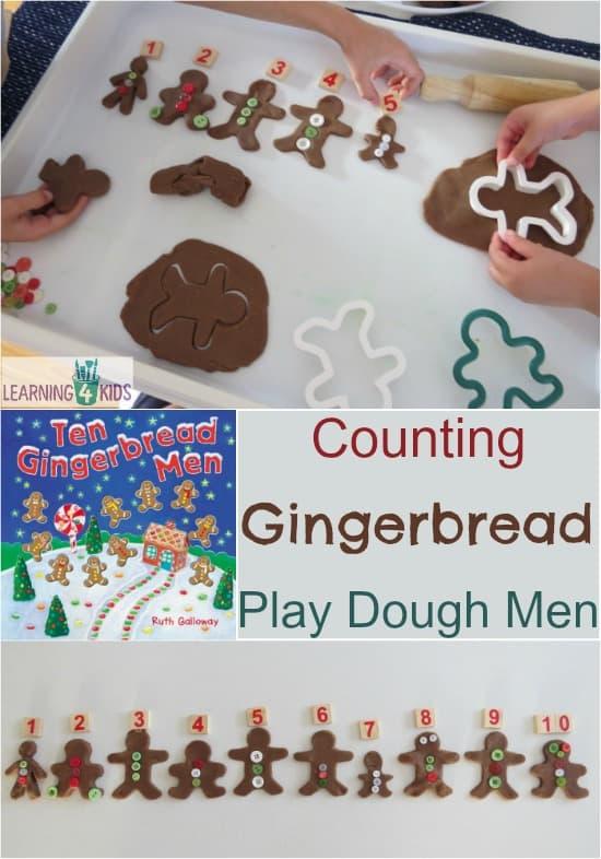 Counting Gingerbread Play Dough Men - maths christmas play dough activity - inspired bythe book Ten Gingerbread Men by Ruth Galloway
