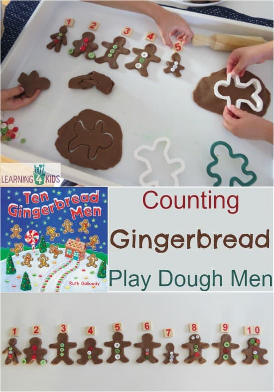 Counting Gingerbread Play Dough Men - maths christmas play dough activity - inspired bythe book Ten Gingerbread Men by Ruth Galloway