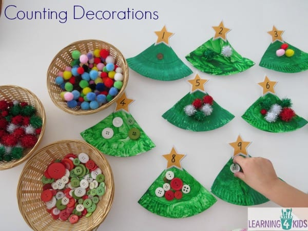 Counting decorations activity with a homemade paper plate christmas tree