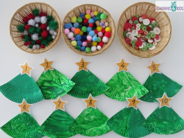 Counting decorations onto paper plate christmas trees - make this into a christmas decoration & Paper Plate Christmas Tree Counting Decoration | Learning 4 Kids