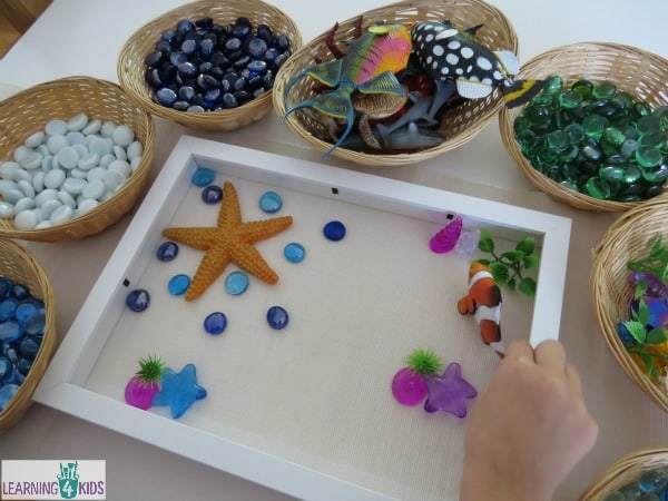 Create imaginative stories on the ocean theme transient art activity.