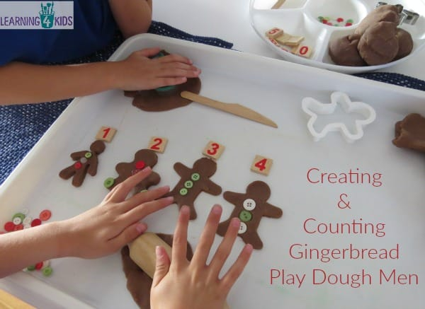 Creating and Counting Gingerbread play dough men - activity inspired by the story 10 Gingerbread Men by Ruth Galloway