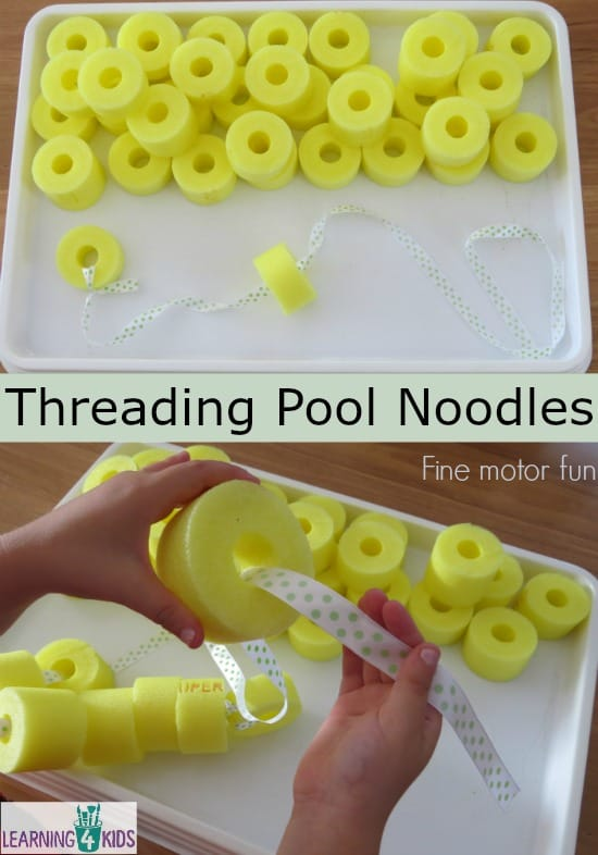 Fine motor fun - threading pool noodles
