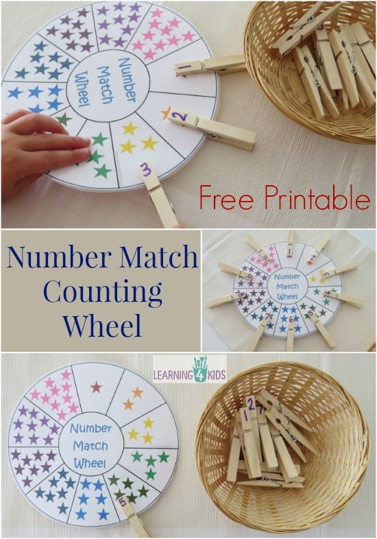 Free Printable Number Match Counting Wheel | Learning 4 Kids