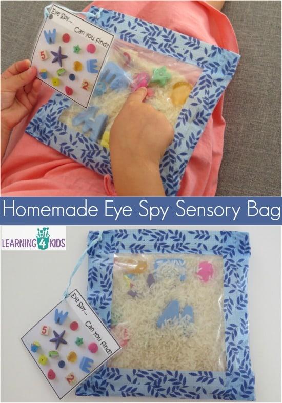 How to make a homemade eye spy sensory bag Simple step by step instructions.