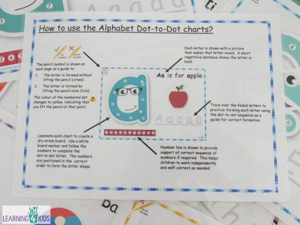 How to use the laphabet dot-to-dot charts information sheet