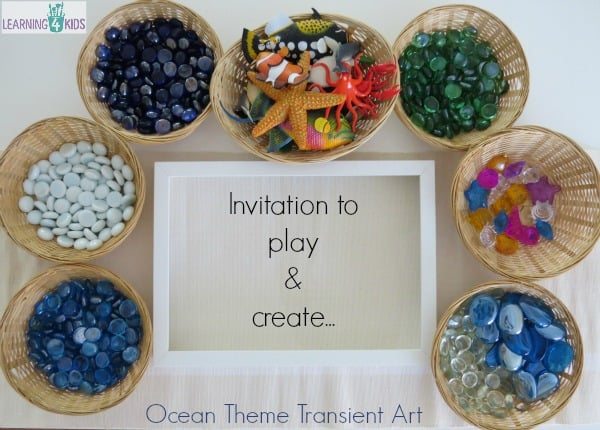 Invitation to play and create - ocean theme transient art activity for kids