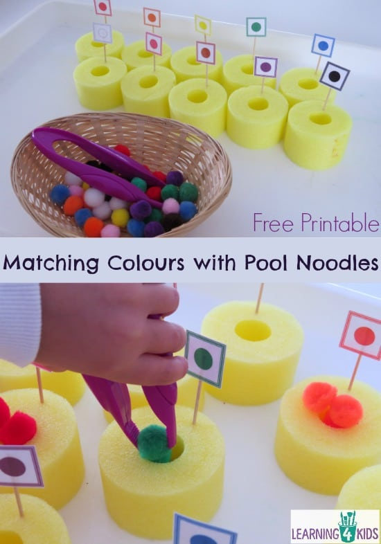 Matching colours with pool noodles - fine motor activity and colour recognition.