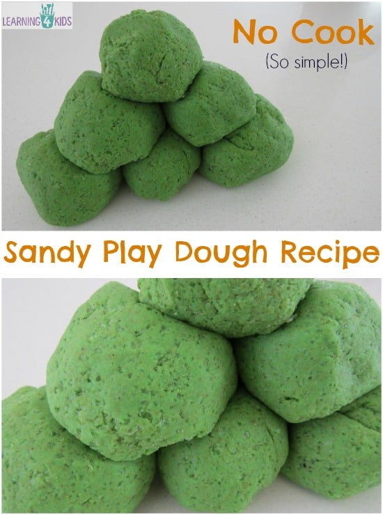 No Cook Sandy Play Dough Recipe - so simple
