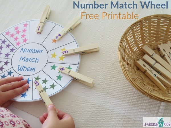 Number Match Wheel with Free Printable