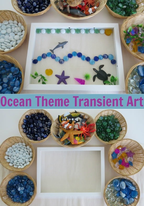 Ocean Theme Transient Art - provide children with an empty frame to create freely with ocena theme loose parts.