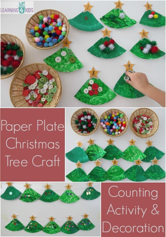 Paper plate christmas tree counting decoration learning for Christmas crafts for kindergarten students