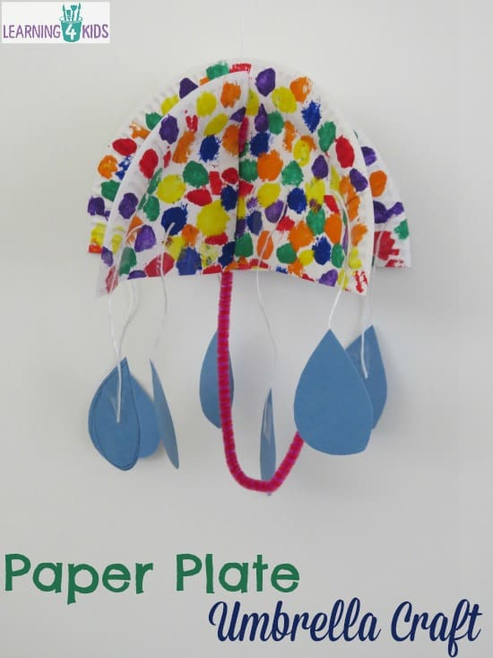 Paper plate umbrella craft learning 4 kids for Art and craft for home decoration with paper