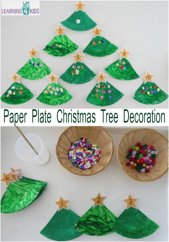 Paper plate christmas tree counting decoration learning for Number of ornaments for christmas tree