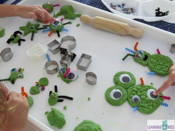 Play dough fun making shape monsters wth sandy green play dough