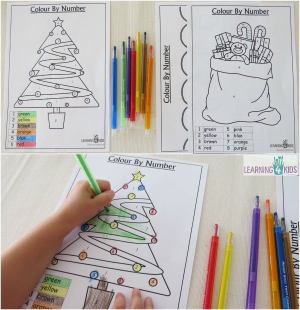 printable 3 pages colour by number christmas worksheets