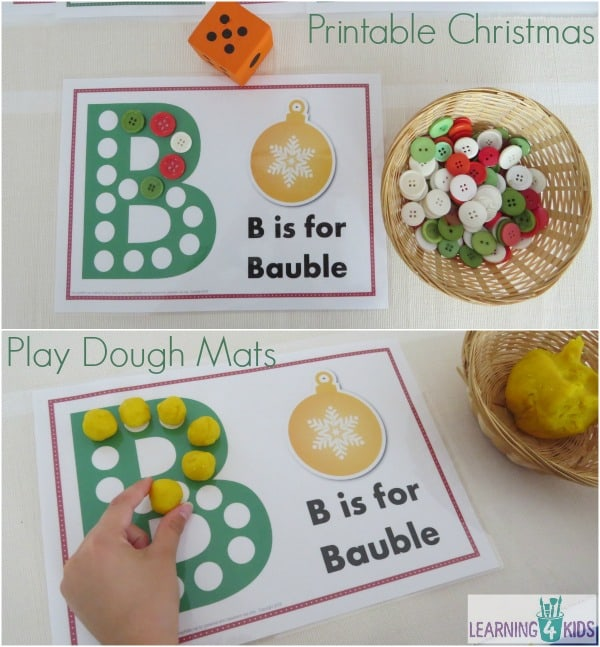 Printable Christmas Play Dough Mats 6 pages included