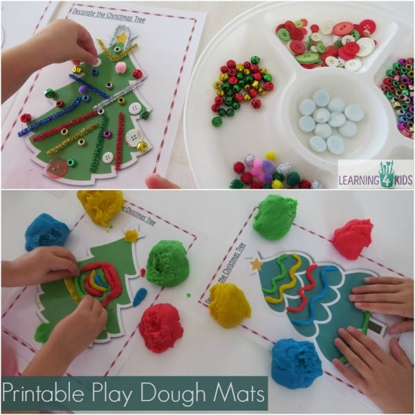 Printable Christmas Play Dough Mats or Transient Art Mats - Part of the Ultimate Christmas Printable Activity Pack by Learning 4 Kids