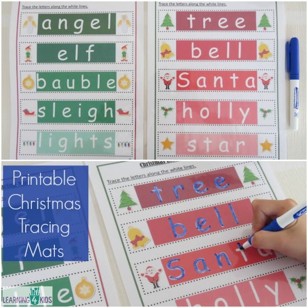 Printable Christmas Tracing Mats