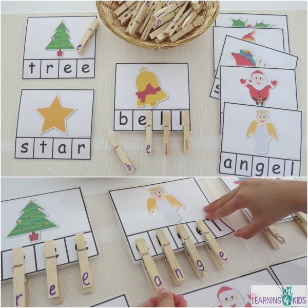 Printable Christmas word cards - great for a letter matching activity Peg a Christmas Word.  8 cards included in printable