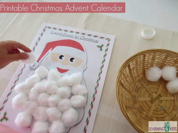 Printable Christmas Advent Calendar - glue cotton wool balls onto the numbered circles.