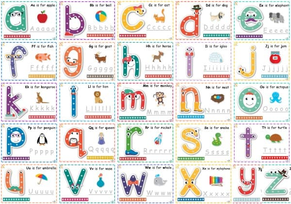 Printable Dot-to-Dot Alphabet Letter Charts a - z.  Print and laminate for a reusable dry erase chart.