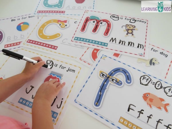 Printable Dot-to-dot alphabet letter charts - laminate for dry erase board and reusable writing tool