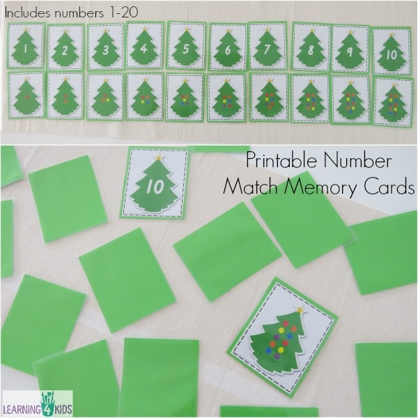 Printable Number Match Memory Cards includes numbers 1-20