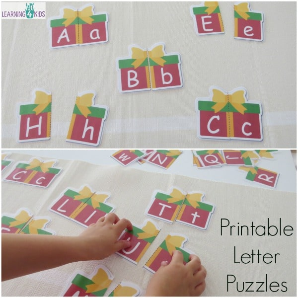 Printable Uppercase and Lowercase Letter Match Puzzles - christmas theme