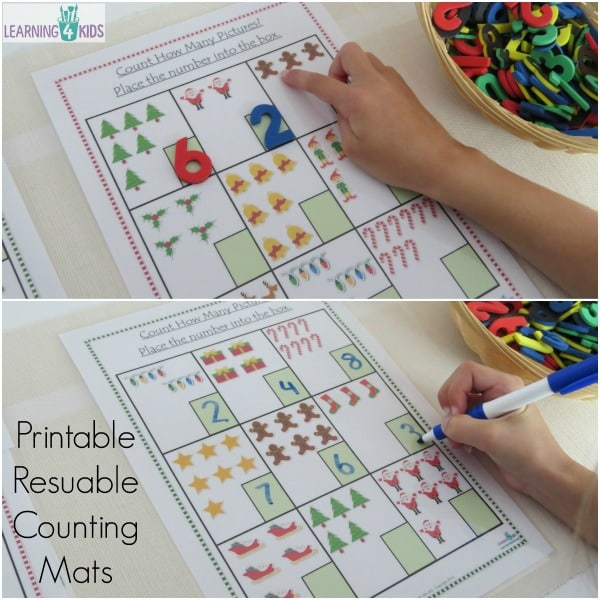 Printable and reusable counting mats - includes 6 pages and also a black line masters worksheet
