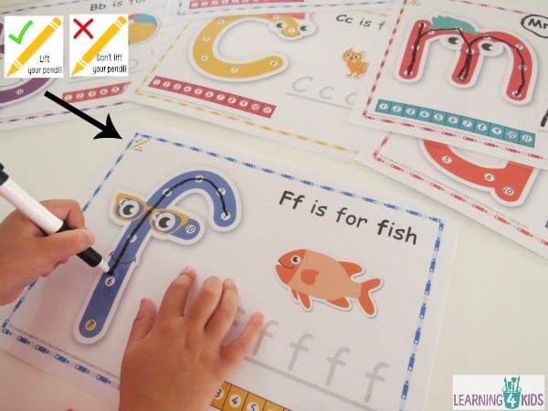 Printable dot-to-dot alphabet letter charts with key to show whether to lift the pencil or not to form each letter in the alphabet