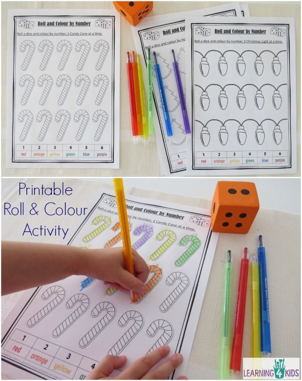 Printable roll and colour worksheets (4 included) christmas theme