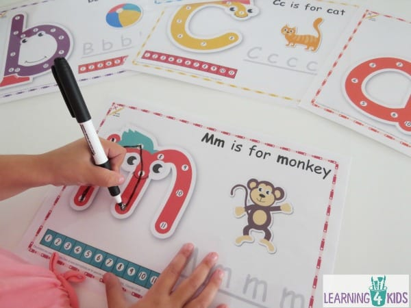 Printing activity with these printable Dot-to-dot alphabet letter charts