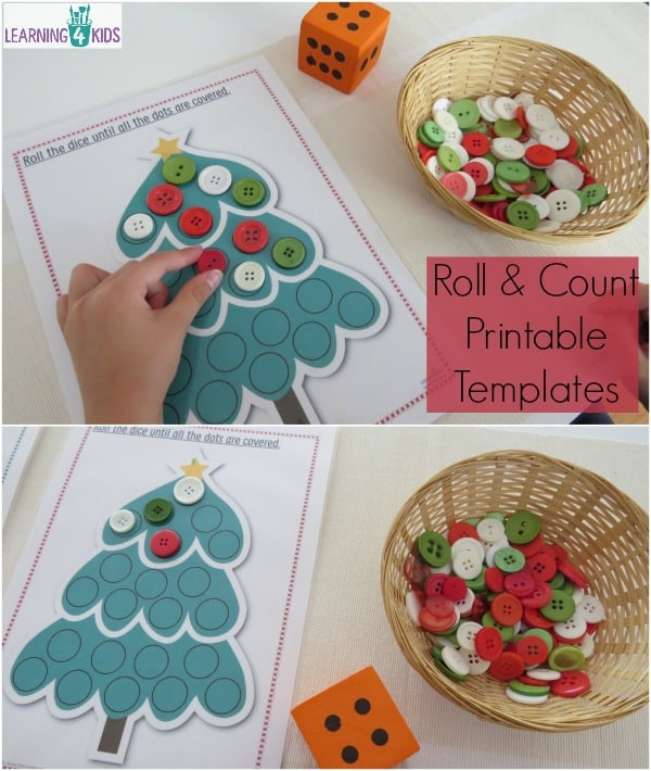 Roll and count printable templates - christmas theme counting and ...